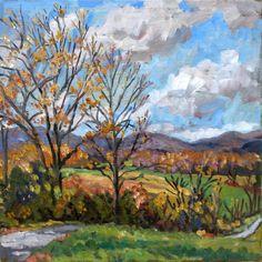 Original Oil Painting Landscape, Berkshires October. Plein Air Impressionist Oil on Canvas