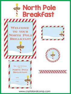 North Pole Breakfast Printables for Elf on the Shelf.have Elf bring breakfast! Pack includes welcome sign, food tent labels, invitations, muffin or cupcake toppers and straw flags. Magical Christmas, Christmas Books, Christmas Signs, Christmas Elf, Christmas Ideas, Christmas Labels, Preschool Christmas, Christmas Activities, Christmas Printables