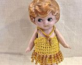 Vintage Bisque Doll, Germany, Side-glancing Eyes, Flapper Doll, Frozen Charlotte, 6 inches tall, Jointed Arms, Circa 1920s