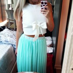 Tulle maxi and bow crop top. Tiffany and Co inspired