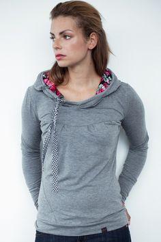 Hoodies - grauer Jersey Hoodie - Blumen - Schleife - ein Designerstück von stadtkind_potsdam bei DaWanda