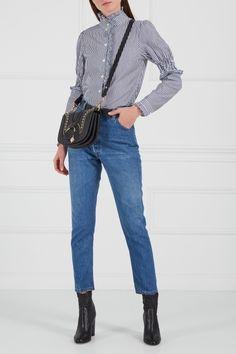 Хлопковая блузка с оборками See By Chloé - Блузка See by Chloe сшита из натурального хлопка в тонкую сине-белую полоску в интернет-магазине модной дизайнерской и брендовой одежды