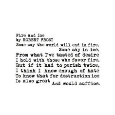 Fire and Ice | Robert Frost