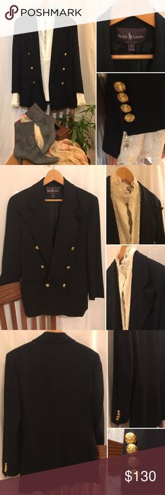Vintage RL Purple Label Wool Blazer 🌟Truly EUC!🌟Classic, simple elegance & timeless style from Ralph Lauren's luxury line. Beautiful, rich navy blue in 100% wool with chic gold button details. Fully lined. Ralph Lauren Purple Label Jackets & Coats Blazers