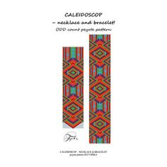 bracelet and necklace peyote pattern caleidoscop - 6 colors
