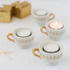 These darling porcelain teacup tealight holders will be the perfect bridal shower favor or wedding favor for that romantic tea-themed occasion.