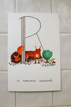 ABC Animals: R comme Renard ©2014 Amandinette Paperie.