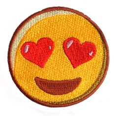 """Your Favorite Smitten Emoji Now on an Embroidered Patch! Measures approx.: 3""""…"""