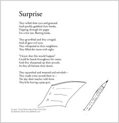 """Funny children's poem about taking a test. Great for classroom reading lessons for kindergarten, and grade, common core, and for ESL lessons. Excerpt from the poetry collection, """"Suzie Bitner Was Afraid of the Drain"""" by Barbara Vance. Esl Lessons, Reading Lessons, Kids Poems, Classroom Projects, Poetry Collection, Poetry Books, Funny Kids, Shit Happens, Kindergarten"""