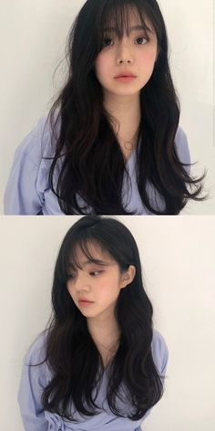 Korean Wavy Hair, Korean Hair Color, Asian Hair, Korean Haircut Long, Layered Haircuts With Bangs, Long Hair With Bangs, Long Hair Cuts, Hairstyles With Bangs, Shot Hair Styles