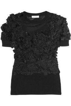 nina ricci flower-appliqued fine-knit silk top