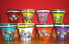 Make into pincushions for someone special who likes to sew. Flower Pot People, Clay Pot People, Painted Plant Pots, Painted Flower Pots, Flower Pot Crafts, Clay Pot Crafts, Decorated Flower Pots, Mosaic Flower Pots, Cement Pots