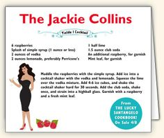 The Jackie Collins cocktail by Wolfgang Puck Fun Cocktails, Cocktail Recipes, Drinks, Jackie Collins Books, Collins Recipe, Soda Syrup, Fabulous Foods, Simple Syrup, Drink