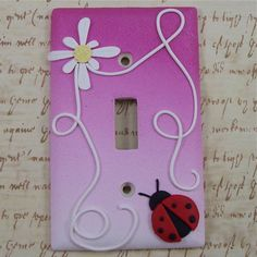Polymer clay covered light switch cover by polymerclayshed on etsy. Polymer Clay Miniatures, Polymer Clay Projects, Polymer Clay Creations, Diy Clay, Polymer Clay Art, Switch Plate Covers, Light Switch Plates, Lighted Canvas, Cute Clay