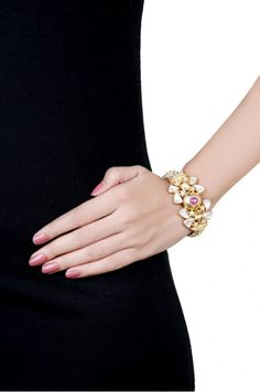 Ruby and Pearl Bombe Evening Bracelet