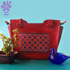 4ae4c4d6b68 Leather Shoulder Bag from India with Kutch Embroidery in Brown