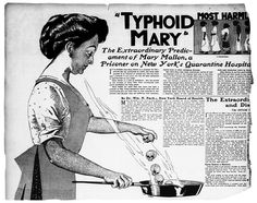 Typhoid Mary in a 1909 newspaper illustration. Note the skulls she casts into the skillet.