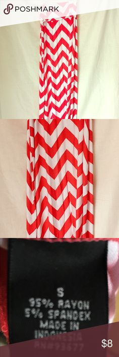 Ana maxi skirt so small Coral and white zigzag pattern maxi skirt. Ana brand from JCPenney. Size small. Skirts Maxi