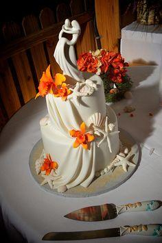 #orange beach wedding cake