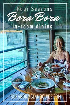"The Four Seasons Bora Bora in room dining takes ""room service"" – over water! Four Seasons Bora Bora, Bora Bora Resorts, Beautiful Islands, Deck, Dining, Water, Room, Gripe Water, Bedroom"