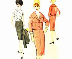 60s Skirt Suit Pattern / Vintage Jackie O Suit Simplicity 2843 Womens Sewing Patterns / Slim Fit Pencil Skirt Pattern Cropped Jacket Bust 32