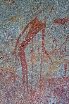 ZIMBABWE MATOBO HILLS - INANKE CAVE - The hunched giant of Inanke represents a San shaman deep in the state of trance.