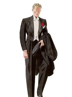 An illustrated history of the last 75 years of men's fashion from double-breasted suits to modern formal wear. With some unfortunately large shoulder pads in between.