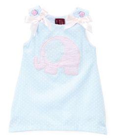 Loving this Light Blue Elephant Dot Shift Dress - Infant, Toddler & Girls on #zulily! #zulilyfinds
