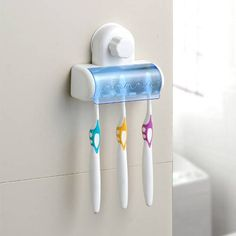 [Visit to Buy] CLOS New 5 in 1 White Bathroom Decor Strong Vacuum Suction Wall Toothbrush Holder White Bathroom Decor, Bathroom Bath, Bathroom Storage, Bathroom Vanities, Bathrooms, Suction Cup Toothbrush Holder, Wall Mounted Toothbrush Holder, Bathroom Accessories Sets, Storage Shelves