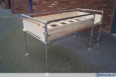 Bed / halfhoogslaper steigerhout + steigerbuis NIEUW
