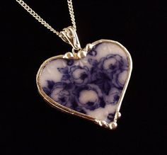 Broken china jewelry heart pendant necklace antique flow blue roses made from a broken plate
