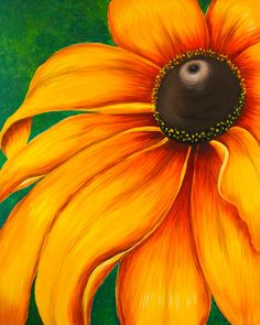 Large Sunflower Painting, Acrylic on Canvas, Ready to Hang on Etsy, $350.00