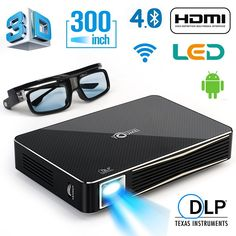 DLP HD 1080p Projector 3D Home Theater Projector , Support external bluetooth Speaker, mouse and game pad,Throw Range 300 inch. 3D Home Cinema :Equipped with Mstar 3D decoder chip, supporting Blu-ray 3D, fascinating 3D effect,Give you real 3D experience in home. Wireless Connectivity: With Wi-Fi connect, available to browse the Internet, stream movies, download App from Google Play, connect Bluetooth speakers with Bluetooth 4.0 without interference. Luxurious Material :Aviation Aluminum…