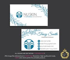 Nu Skin Business Card Personalized NuSkin Business Card Custom Business Cards, Business Card Size, Online Business, Skin Logo, Watercolor Business Cards, Printed Materials, Nu Skin, Card Sizes, All Design
