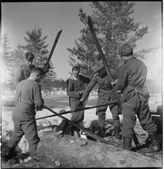 Finnish Wartime Photograph Archive -roasting the tar on the wooden ski´s.