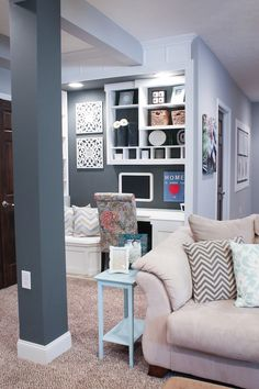 office/work nook, wall colors love : light gray is SW March Wind 7668; Dark Gray SW Grizzle Gray 7068