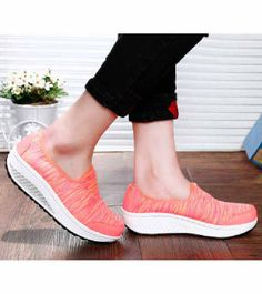 Women's #red slip on #rocker bottom sole shoe sneakers pattern design, lightweight, sewing thread, casual, leisure occasions.