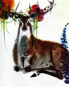 Mirko Hanák illustration from Bambi, a Life in the Woods by Felix Salten Watercolor Animals, Watercolor And Ink, Watercolor Illustration, Graphic Illustration, Watercolor Paintings, Surface Art, Gaucho, Street Art, Organic Art