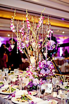 Indian wedding reception centerpiece on IndianWeddingSite.com