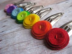 a week of barrettes in rainbow set of 7 colorful by jenmenkhaus