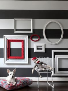 Decorating:Appealing Room Interior With Striped Wallpaper And Diy Frame Wall Arts DIY Wall Art Ideas That Will Make Your Room Great