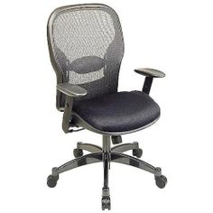 """Office Star SPACE Matrex Mesh Managers Chair, Black 2300 by Office Star. $319.99. Arms maximum inside: 19"""". Height-adjustable arms with soft polyurethane pads. 2-to1 synchro-tilt control with adjustable tilt tension. One-touch pneumatic seat height adjustment from 18 1/2"""" to 22 1/2"""". Gun-metal finish aluminum base with oversized dual-wheel carpet casters. Manager's matrex back gives the right amount of flex combined with adjustable lumbar support and mesh fabric seat..."""