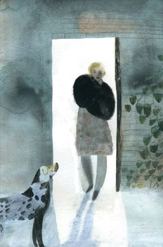 One of Laura Carlin's wistful illustrations from the Folio edition of The Garden of the Finzi-Continis.