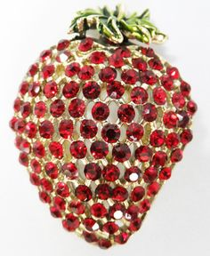Vintage jewelry brooch in  bright red rhinestone strawberry brooch Sale save 10.oo