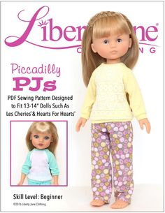 Liberty Jane Piccadilly PJs Doll Clothes Pattern for Les Cheries and Hearts For Hearts Dolls | Pixie Faire