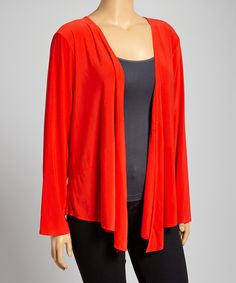 Look at this DJ Summers Red Solid Open Cardigan - Plus on #zulily today!