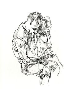 I just found some boxes of sketchbooks from when I first moved to NYC years ago, here a large drawing of a couple made on the moving subway train. charcoal on paper. Gregory Muenzen