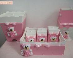 Kit higiene para bebê - Ursinha rosa