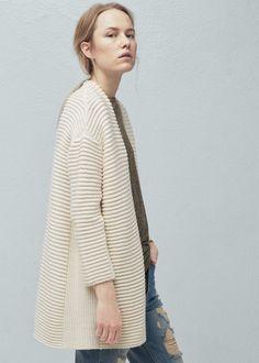 Striped texture cardigan -  Women | MANGO USA