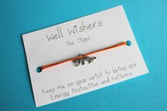♥ The message on the card is inspired by the charm and what it symbolises. For example : The Tiger Bracelet - Keep me on your wrist you bring you Energy, Protection and Patience. Wish Bracelets, Friendship Gifts, Travel Gifts, Animal Party, Patience, Party Favors, Insects, Birthdays, My Etsy Shop